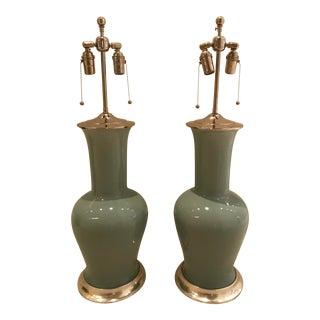 Spitzmiller 'Garniture' Aqua Blue Table Lamps - a Pair