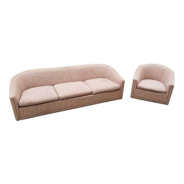 Larsen Furniture Jack Lenor Larsen Low Sofa and Swivel Lounge Chair - A Pair - Image 1 of 11