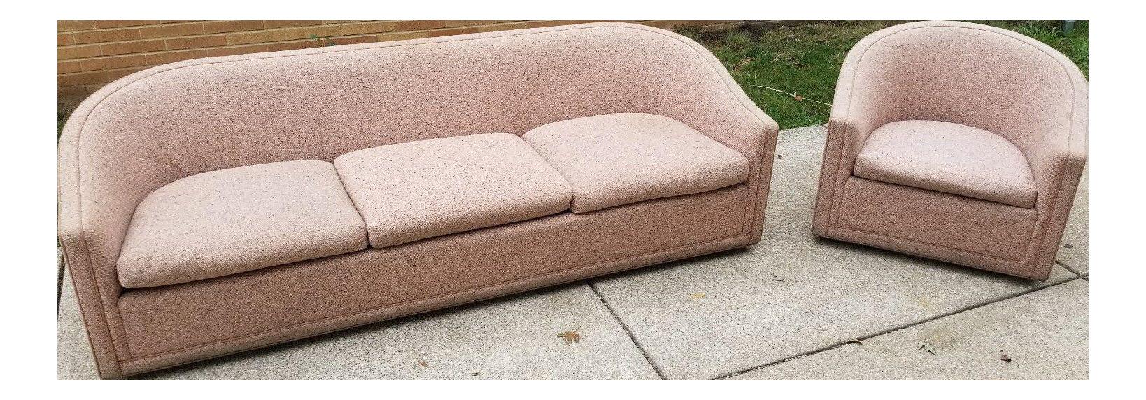 Larsen Furniture Jack Lenor Larsen Low Sofa And Swivel Lounge Chair   A Pair