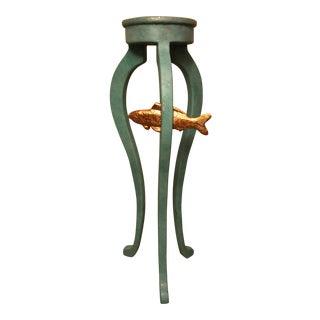 Aqua Green Wooden Vase Plant Pedestal