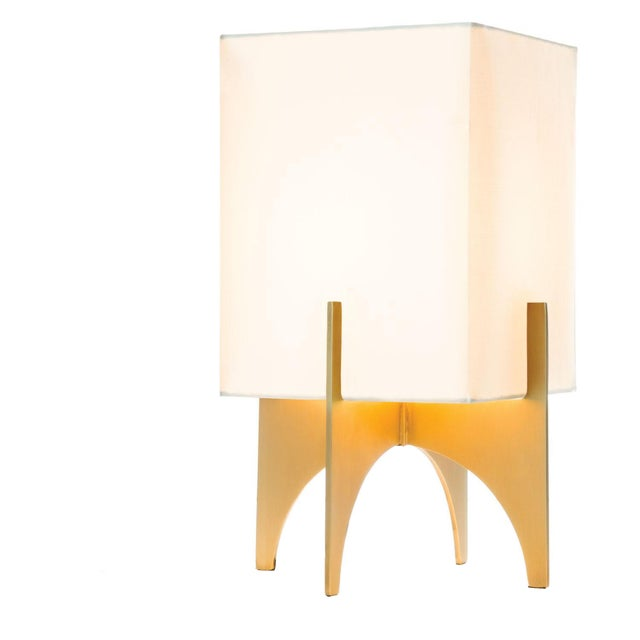 Small Modern Brass Thick Accent Lamp - Image 1 of 5