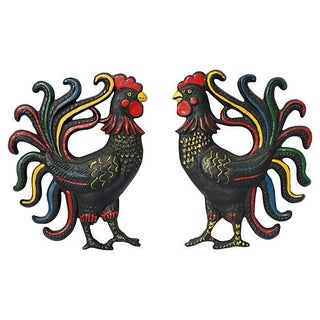 1950s Wall Roosters - A Pair