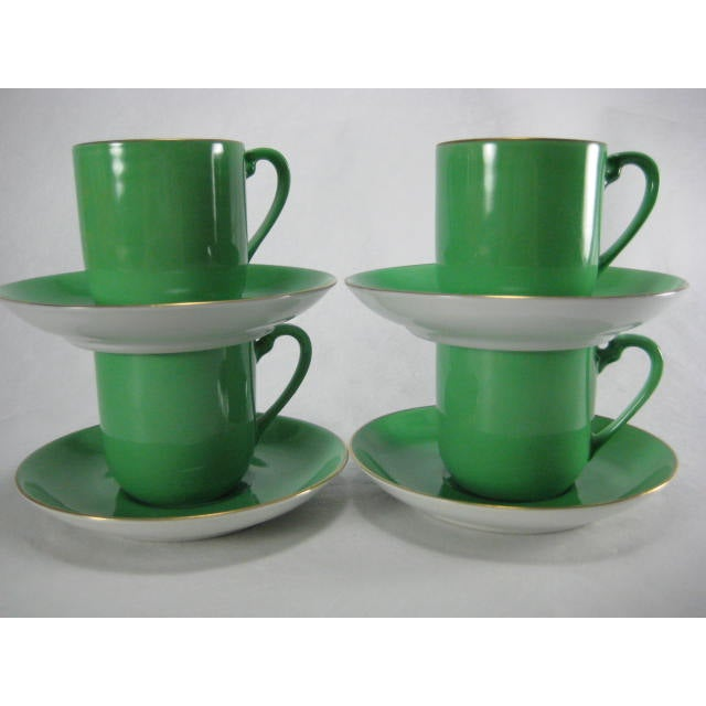 Green Demitasse Cups & Saucers by Morimura - 8 Pieces - Image 2 of 11