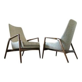 Ib Kofod Larsen High Back Lounge Chairs - A Pair