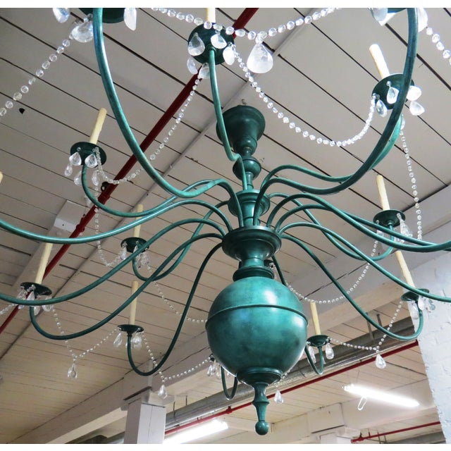 Green Copper Chandelier With Crystal Accents - Image 4 of 8