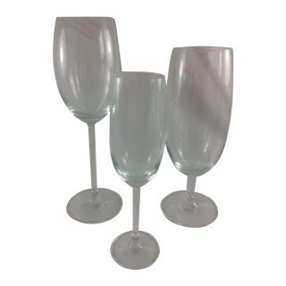 Vintage German Graduated Glass Goblets- Set of 3