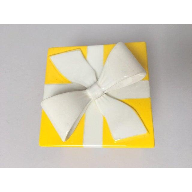 Mancioli Italy Yellow Porcelain Covered Gift Box - Image 7 of 11