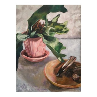 "Neicy Frey ""Palo Santo, Fern and Pottery"" Original Still Life Painting"