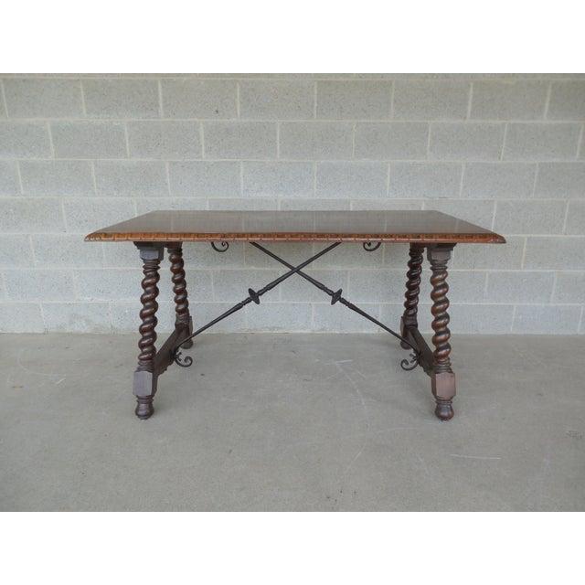 Vintage spanish renaissance style barley twist leg library for Center table legs