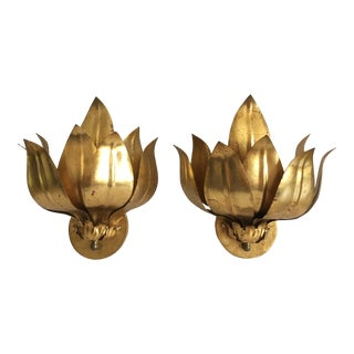 1950s Italian Gilt Lotus Sconces- A Pair