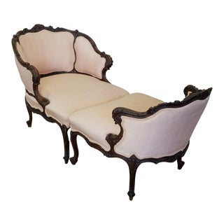 Antique French Carved Mahogany Duchesse Brisee Chaise Lounge