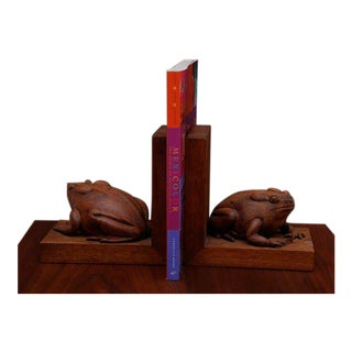 Pair of Frogs Bookends Hand-Carved in Mahogany