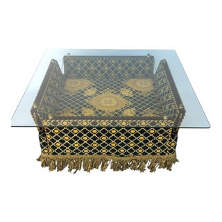 Italian Versace Plush Velvet-Upholstered Knole Glass Coffee Table by Stefano Giovanni