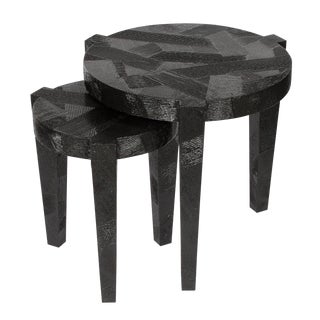 Black Lacquered Textured Nesting Tables - A Pair