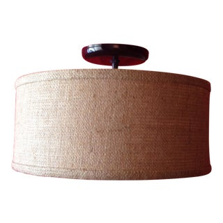 Flush Mount Burlap Shade Ceiling Light