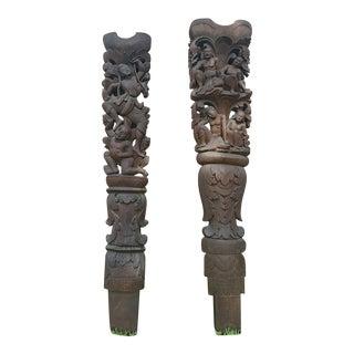 Burmese Wooden Architectural Columns - A Pair