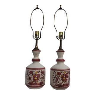 Italian Folk Art Hand Painted Pottery Table Lamps - a Pair