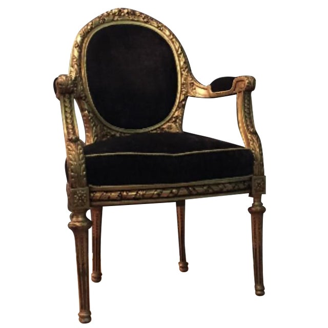 Antique French Louis XVI Rococo Gilt Armchair - Image 1 of 6