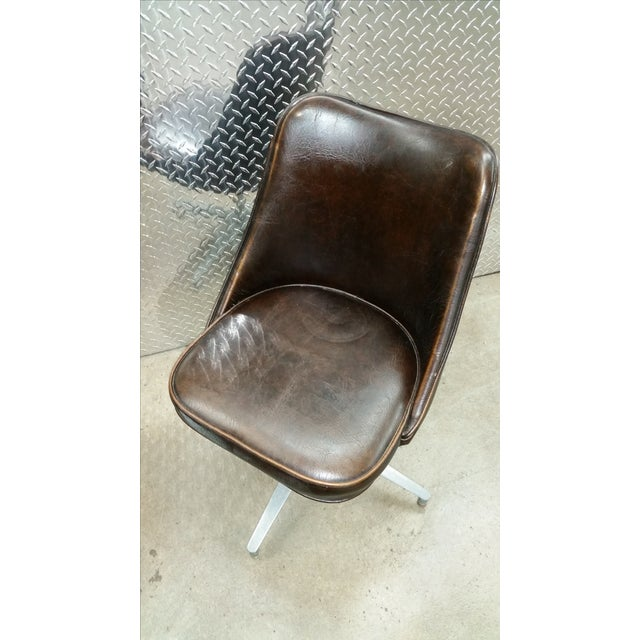Image of Brody Mid-Century Leather Swivel Chairs - A Pair