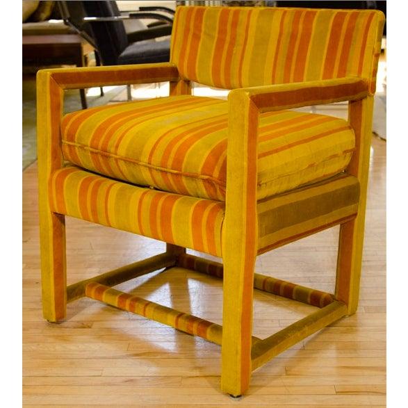 Mid-Century Orange Striped Velvet Armchairs - Pair - Image 5 of 10