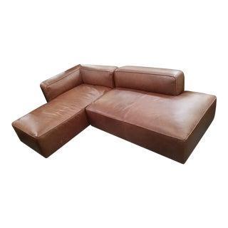 Brown Leather Modular Sectional Sofa