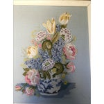 Image of Vintage French Blue Linen Embroidery Wall Art