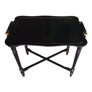 Black Tray Table With Gold Accents