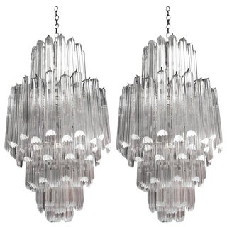 Six-Tier Acrylic Chandeliers - A Pair