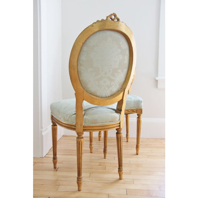 Vintage Louis XVI Style Giltwood Chairs - a Pair - Image 4 of 7