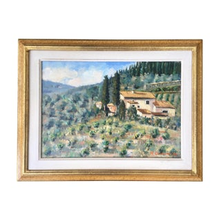 """M. Quercioli """"Greve in Chianti"""" Oil Painting of Tuscany"""