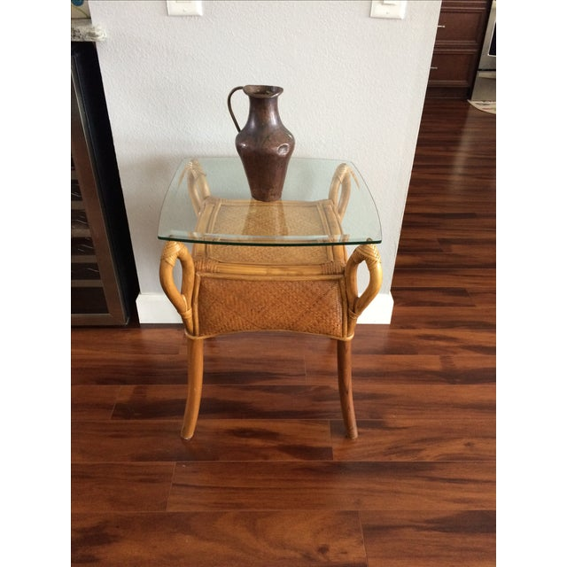 Vintage Bohemian Rattan Wicker Table - Image 5 of 8