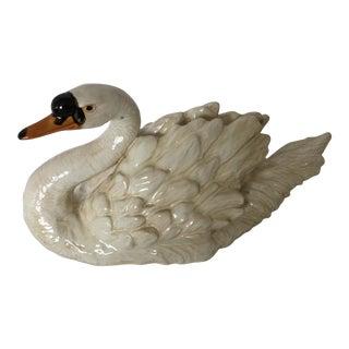Large Ceramic Swan Centerpiece Figurine