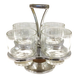 Mid-Century Drink Glass Caddy & Glasses - Set of 4