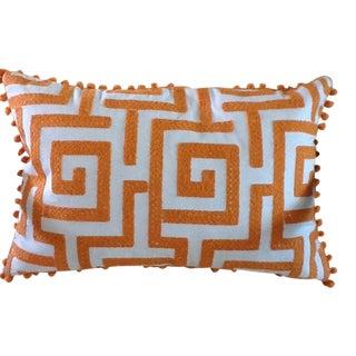 Orange Pom-Pom Geometric Accent Pillow