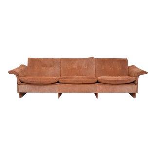 Danish Modern Suede & Teak Sofa