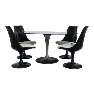 1960s Knoll-Style Black Dining Set