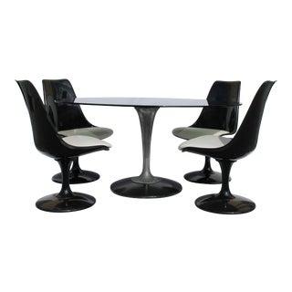 1960s Knoll-Style Black Dining Set