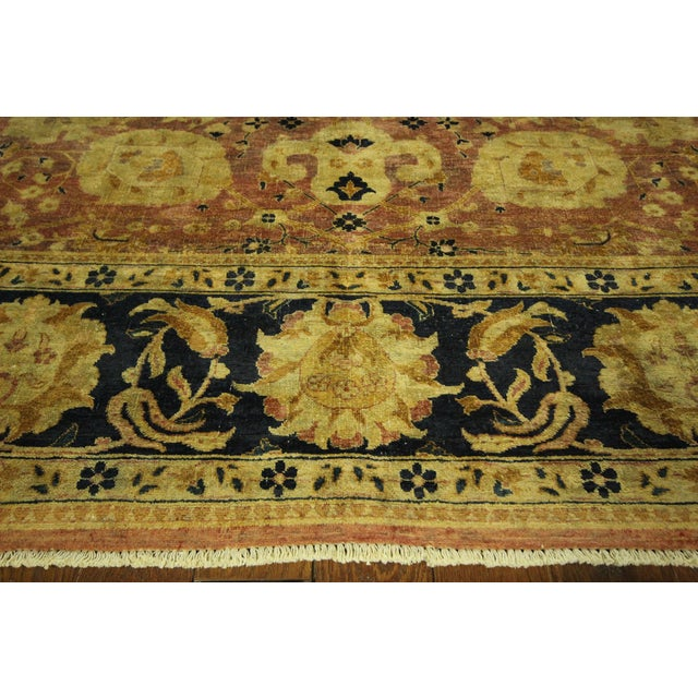 Image of Oushak Blue Floral Chobi Wool Rug - 8' x 10'