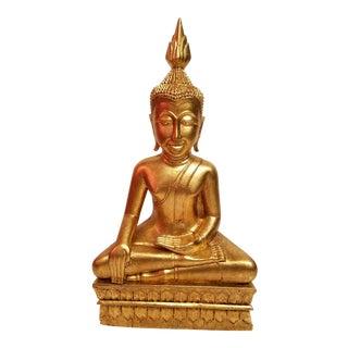 60s Hand Carved Gilt Wood Thai Buddha