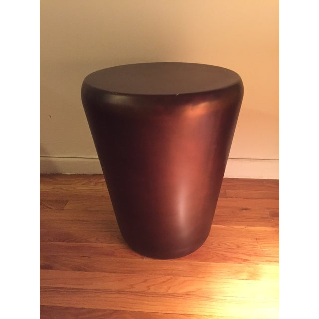 Crate & Barrel Bronze Drum End Table - Image 2 of 6