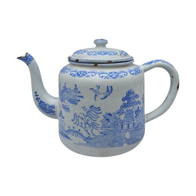 19th Century Enamel Willow Teapot - Image 1 of 5