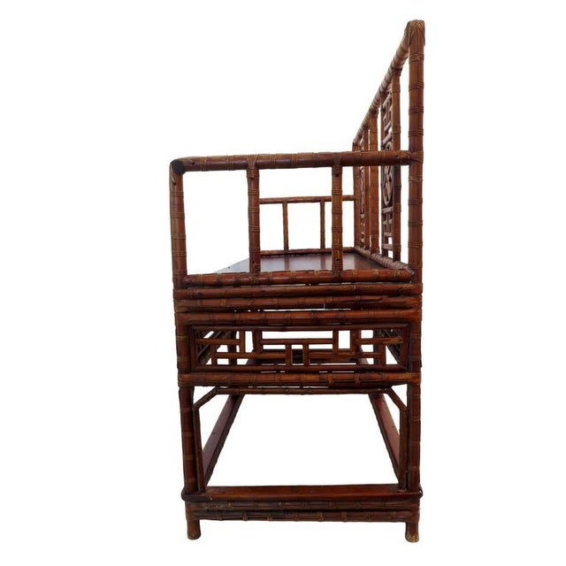 Antique Chinese Bamboo Chinoiserie Settee - Image 2 of 4