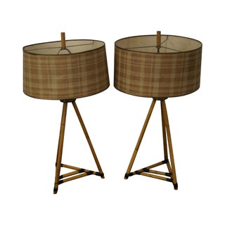 Mid-Century Bamboo Tripod Table Lamps - A Pair