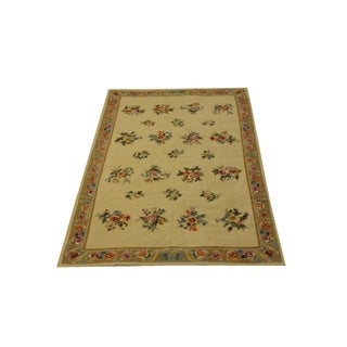 "Floral Needle Point Rug - 5'9"" x 8'8"""