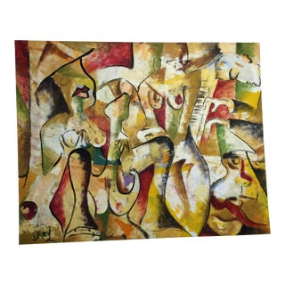 Large Contemporary Painting on Canvas Abstract Musicians Partial Nudes