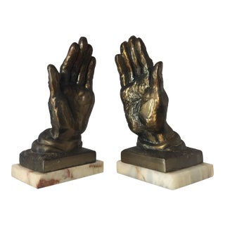Metal & Marble Hand Bookends - A Pair