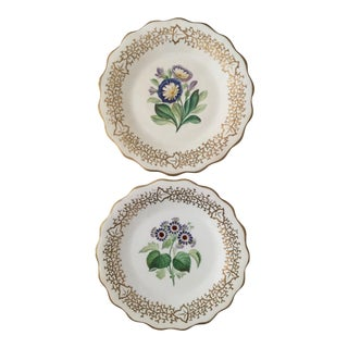 Antique English Handpainted Plates - A Pair