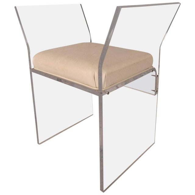 Mid-Century Modern Vinyl and Lucite Bench - Image 1 of 6