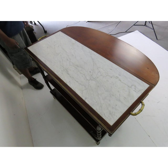 Directoire Style Marble Top Mahogany Drop Leaf Server Table - Image 8 of 8