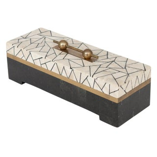 Maitland Smith Tessellated Stone & Brass Box